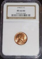 1945-S LINCOLN WHEAT CENT- NGC MINT STATE 66 RED GEM BRILLIANT UNCIRCULATED    76-085
