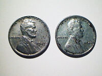 1943 S  1943 STEEL PENNIES 2 SMALL CENTS YOU GRADE SEE PHOTOGRAPHS