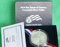 2010 BOY SCOUTS BSA BU 90  SILVER DOLLAR COIN WITH BOX AND COA $1 COMMEMORATIVE
