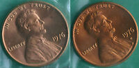 1976 P & D LINCOLN CENT 2 COIN FROM US MINT SET UNC CELLO ONE CENT PENNY SET