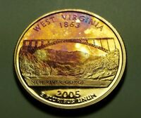 TONED 2005 S CLAD PROOF WEST VIRGINIA STATE QUARTER W26880