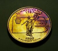 TONED 1999 S CLAD PROOF PENNSYLVANIA STATE QUARTER W26889