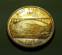 TONED 2005 S CLAD PROOF WEST VIRGINIA STATE QUARTER W26879