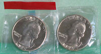 1980 P & D WASHINGTON QUARTER TWO COINS FROM US MINT UNCIRCULATED SET BU CELLO