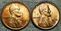 1929-S  1930-S LINCOLN WHEAT CENTS --- GEM BU CONDITION LOT --- T070