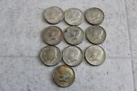 LOT OF KENNEDY HALF DOLLAR 40 SILVER 10 COINS TOTAL SHIPS FREE