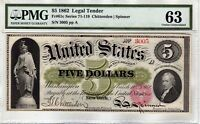 FR.61C $5 1862 LEGAL TENDER NOTE PMG CHOICE UNCIRCULATED 63