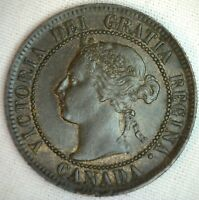 1895 COPPER CANADIAN LARGE CENT COIN 1 CENT CANADA UNC