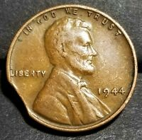 1944   CURVED CLIP LINCOLN WHEAT CENT MINT ERROR LOT 3577