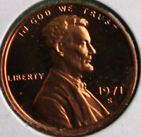 1971 S LINCOLN PENNY ONE CENT PROOF U.S. MINT COPPER COIN 1C FROM PROOF SET