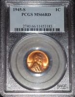 1945-S LINCOLN WHEAT CENT- PCGS MINT STATE 66 RED GEM BRILLIANT UNCIRCULATED   3183