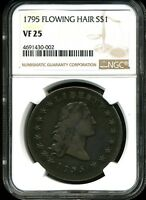 1795 $1 TWO LEAVES FLOWING HAIR SILVER DOLLAR VF25 NGC 4691430-002