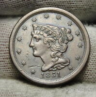 1851 BRAIDED HAIR HALF CENT -  ONLY 147,672 MINTED .  COIN 7243