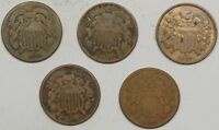 1864,1865,1867,1868,1870 TWO CENT PIECES, LOT OF 5 - CIRCULATED