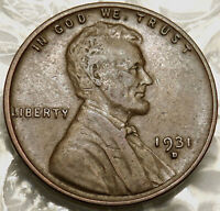 1931-D LINCOLN WHEAT CENT. EXTRA FINE. FULL LINES REVERSE. SEMI-KEY COIN 958