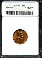 1949-S 1C LINCOLN WHEAT CENT MINT STATE 65 RED ANACS 1431209