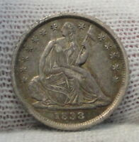 1838 SEATED LIBERTY HALF DIME H10C NO DRAPERY -  COIN, SHIPS FREE 5215