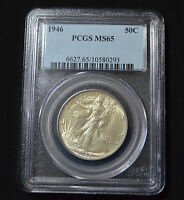 1946 WALKING LIBERTY HALF DOLLAR GEM UNCIRCULATED - PCGS MINT STATE 65 - 5Z38