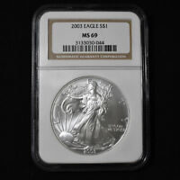 2003 AMERICAN SILVER EAGLE - NGC MINT STATE 69 BROWN LABEL