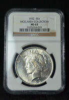 1922 PEACE DOLLAR - MCCLAREN COLLECTION HOARD- TONED CHOICE UNC NGC MINT STATE 63 - 3F21