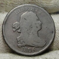 1805 DRAPED BUST HALF CENT -  COIN, SHIPS FREE  5860