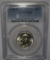 1955 D WASHINGTON SILVER QUARTER   PCGS GRADED MS64   GREAT VALUE COIN