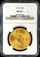1924 ST. GAUDENS $20 GOLD PIECE CERTIFIED MS 65 PLUS BY NGC