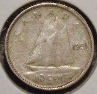 CANADA DIME   1951   KING GEORGE VI   $1 UNLIMITED SHIPPING