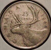 CANADA QUARTER   1944   KING GEORGE VI   $1 UNLIMITED SHIPPING