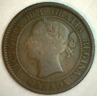 1859 COPPER BRONZE CANADIAN LARGE CENT ONE CENT COIN GOOD 3