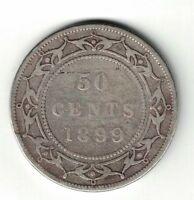 NEWFOUNDLAND 1899 WIDE 99 50 CENTS HALF DOLLAR VICTORIA STERLING SILVER COIN