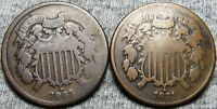 1864  1871 TWO CENT PIECES 2CPS ---  LOT --- I093