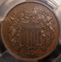 1864 TWO CENT PIECE, LARGE MOTTO VARIETY, AWESOME DETAIL, PCGS AU53