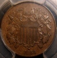 1866 TWO CENT PIECE, AWESOME DETAIL, PCGS AU55