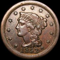 1853 BRAIDED HAIR LARGE CENT PENNY ----  ----  I850