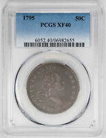 1795 50C 2 LEAVES FLOWING HAIR HALF DOLLAR - PCGS EXTRA FINE 40 CERTIFIED US  COIN