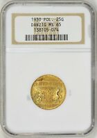 1930 POLAND 25 GULDEN FREE CITY OF DANZIG GOLD COIN NGC MS65