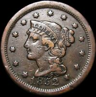 18.52 BRAIDED HAIR LARGE CENT 1852 DATE ERROR?  ---- TYPE COIN ---- P088