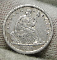 1840 SEATED LIBERTY HALF DIME H10C NO DRAPERY -  COIN, SHIPS FREE 7313