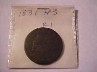 1831 CORONET LARGE CENT -- N-3 -- CIRCULATED
