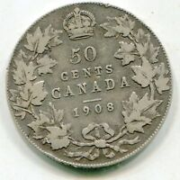 CANADA 50 CENTS 1908 VERY SCARCE DATE NICE COIN  LOTSEP4506
