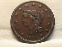 1840/18  BRAIDED HAIR LARGE CENT.  N-2, SMALL DATE OVER LARGE 18