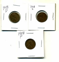 1948 P,D,S WHEAT PENNIES LINCOLN CENTS CIRCULATED 2X2 FLIPS 3 COIN PDS SET994