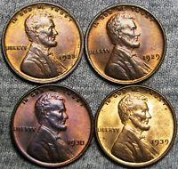 1923 1929 1930 1939 LINCOLN CENT WHEAT CENT LOT - GEM BU CONDITION  ---- P274