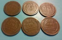 LOT OF 6 1916 TO 1920 1C LINCOLN WHEAT CENT PENNIES  ALL DIFFERENT  C1