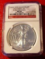 2011 SILVER AMERICAN EAGLE NGC MINT STATE 69 25TH ANNIVERSARY EARLY RELEASES-496