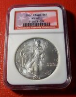 2002 SILVER AMERICAN EAGLE NGC MINT STATE 69 AMERICAN FLAG LABEL -009