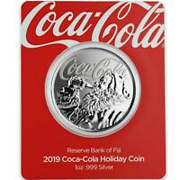 2019 1OZ .999 SILVER COCA COLA HOLIDAY COIN   LIMITED MINTAGE COLLECTIBLE A465