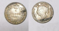 1883 H CANADA STERLING SILVER 5 CENTS INV344 24
