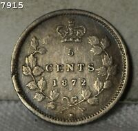 1872 H  SILVER  CANADA 5 CENTS